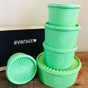 Vintage Green Tupperware Servalier Canisters ❤️